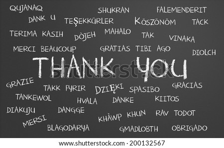 Thank you word cloud written in many different languages on a chalkboard - stock photo