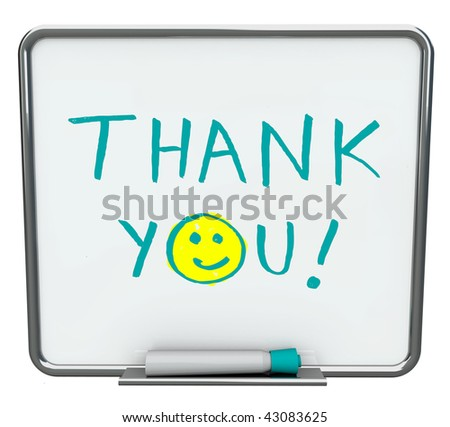 Thank you written on a white dry erase board with blue marker - stock photo