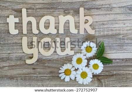 Thank you written with wooden letters on rustic wooden surface and white daisies  - stock photo