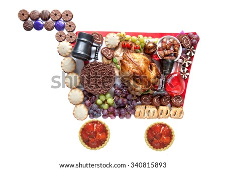 Thanksgiving and Christmas shopping cart concept - stock photo