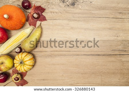 Thanksgiving border design and copy space - stock photo