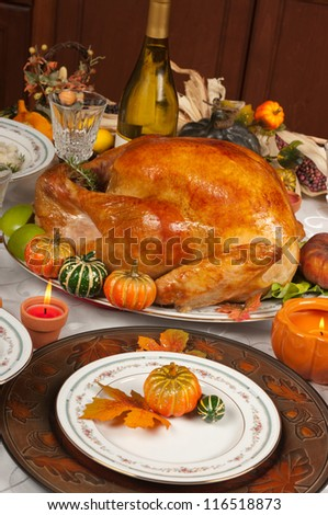 Thanksgiving celebration and dinner - stock photo