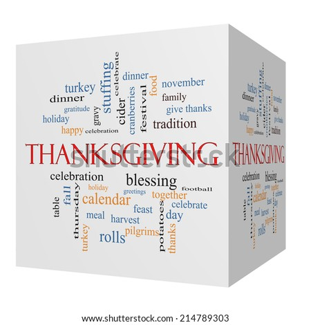 Thanksgiving 3D cube Word Cloud Concept with great terms such as dinner, harvest, holiday, turkey and more. - stock photo