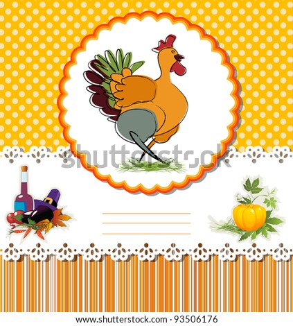 Thanksgiving Day card with Turkey and room for text. - stock photo