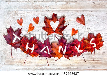 "Thanksgiving day concept/Autumn thanksgiving day background with red and yellow leaves with word ""Thanks"" /Autumn leaves over wooden background  - stock photo"