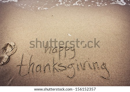 Thanksgiving day concept background with a sand - stock photo