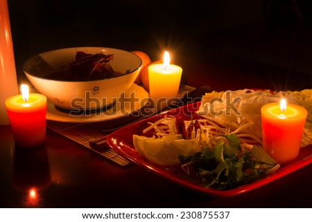 Thanksgiving day dinner and thai food - stock photo