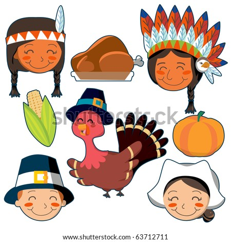 Thanksgiving Day faces and elements set - stock photo