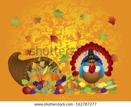 Thanksgiving Day Fall Bountiful Harvest Cornucopia with Turkey Pilgrim Pumpkins Fruits and Vegetables Raster illustration - stock photo