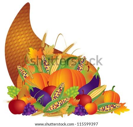 Thanksgiving Day Fall Harvest Cornucopia with Pumpkins eggplants apples grapes wheat grain corns fruits vegetables Raster Vector illustration - stock photo