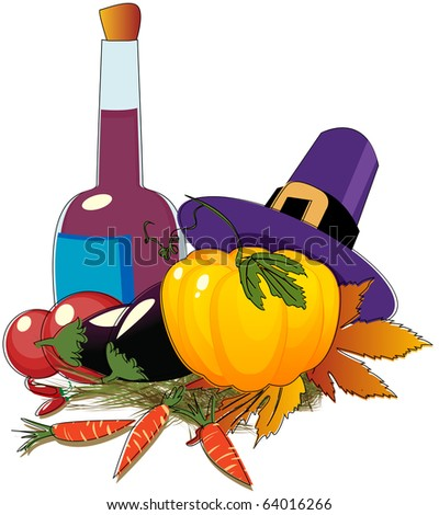 Thanksgiving Day hat and vegetables - stock photo