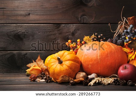 Thanksgiving - different pumpkins with nuts, berries and grain in front of wooden board - stock photo
