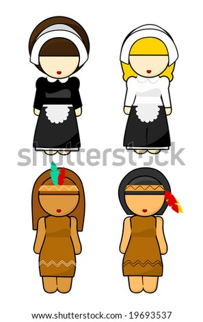 Thanksgiving Indians and Pilgrims women Illustration - stock photo