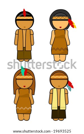 Thanksgiving Indians couples Illustration - stock photo