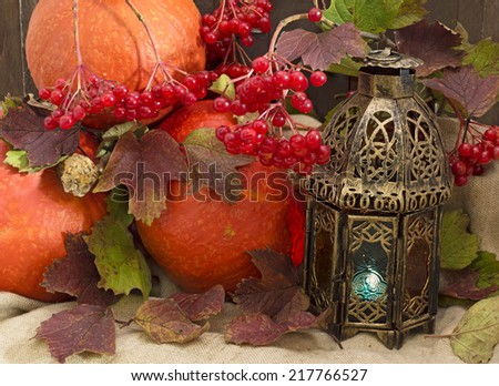 Thanksgiving still life, pumpkins with vintage lantern and viburnum berries - stock photo