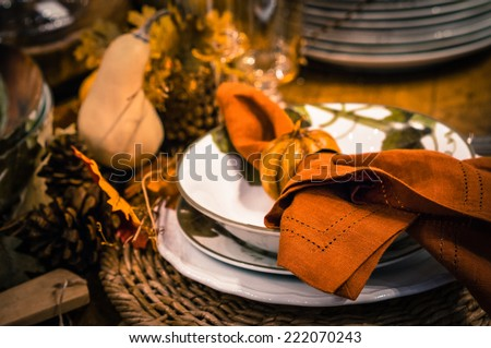 Thanksgiving table decoration - stock photo