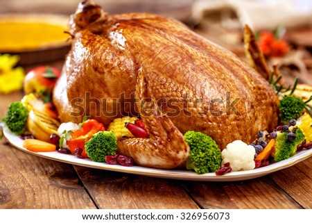 Thanksgiving Turkey dinner on wooden table - stock photo