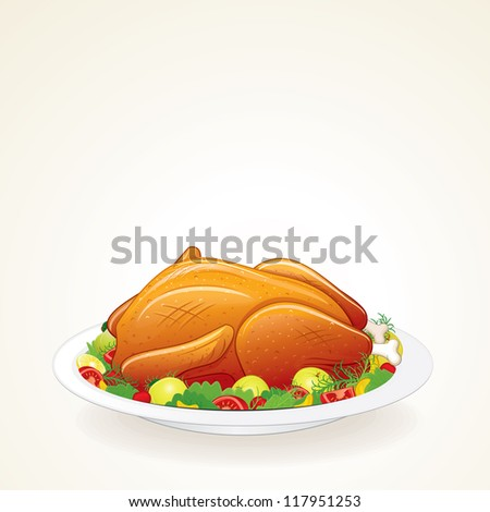 Thanksgiving Turkey with Fruits and Vegetables. Isolated Illustration. - stock photo