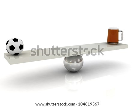 That outweigh the mug of beer or football. 3D render on a white background - stock photo