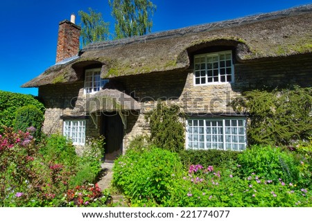 Thatched Cottage, Thornton Le Dale, Yorkshire - stock photo