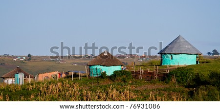 thatched rural house - stock photo