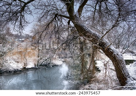 Thaw at the end of winter. - stock photo