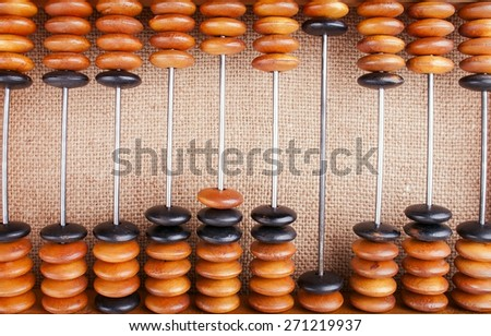 The Abacus on Burlap Making Counting Background  - stock photo