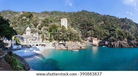 The Abbey of San Fruttuoso is a medieval Catholic abbey on the coast near Portofino, Liguria, Italy. The bay of Capodimonte is a famous travel spot for the tourist visiting Italy. - stock photo
