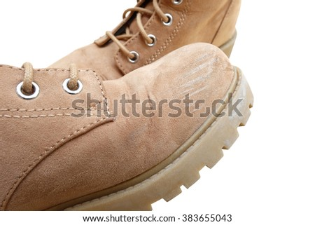 the abrasion at toe box of one flannel boots with another one (Isolated mode and have clipping path)