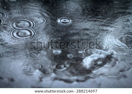 the abstract blur background from raining flow down on the black floor - stock photo