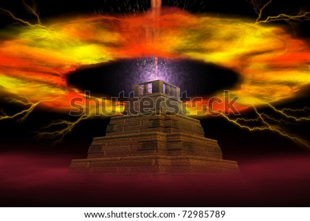 The abstract image of explosion of a pyramid - stock photo
