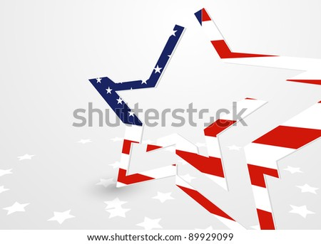 The abstract star with american flag - stock photo