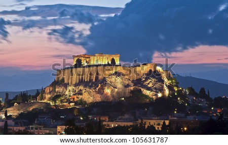 The Acropolis Greece at Sunset - stock photo