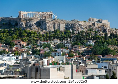 The Acropolis of Athens in the midday. Greece. - stock photo