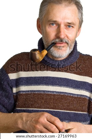 The adult man with a pipe in a hand. Isolation on a white background - stock photo