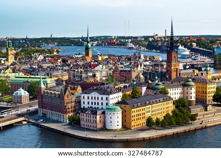 The aerial panorama of Stockholm city in Sweden - stock photo