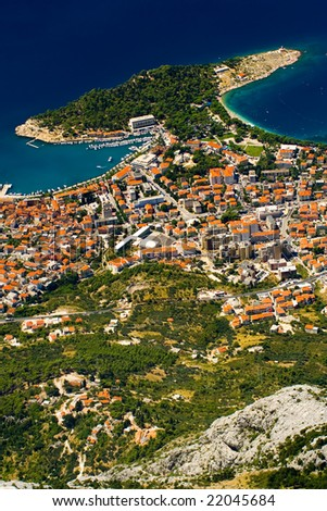 the aerial photo of Makarska - Croatia - stock photo