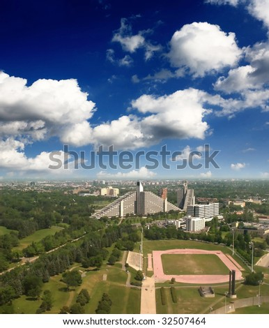 The aerial view from the top of Olympic stadium Montreal City - stock photo