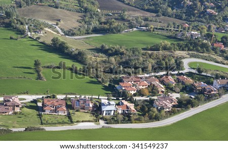 The aerial view of San Marino hillside neighbourhood - stock photo