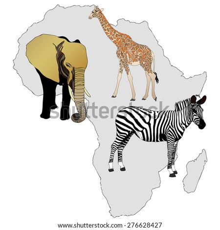 The Africa and its animals - illustration representing the best known African animals - stock photo