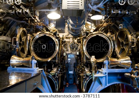 The aft torpedo room of the U.S.S. Bowfin in Pearl Harbor, Hawaii - stock photo