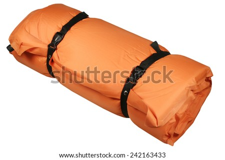 The air-bed for a campaign the orange - stock photo