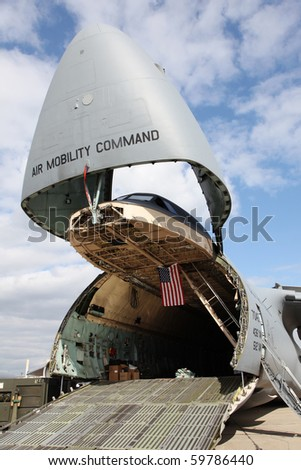 The air mobility command of the U.S. Air Force ready for boarding. - stock photo
