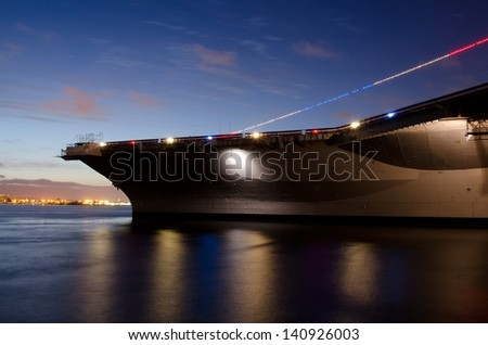 The aircraft carrier USS Midway in San Diego, CA during the Memorial Day weekend, 2013. - stock photo