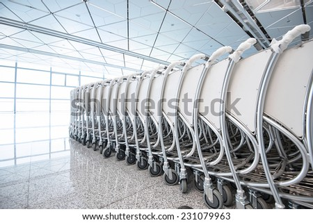 The airport trolley - stock photo