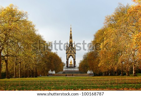 The Albert memorial surrounded by beautiful golden autumn trees. London, UK - stock photo