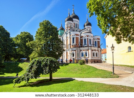 The Alexander Nevsky Cathedral is an orthodox cathedral in the Tallinn Old Town, Estonia. - stock photo
