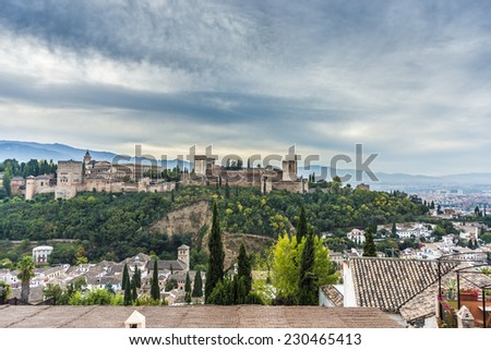 The Alhambra, a palace and fortress complex originally constructed as a small fortress until its ruins were rebuilt by the king Mohammed ben Al-Ahmar in Granada, Andalusia, Spain. - stock photo