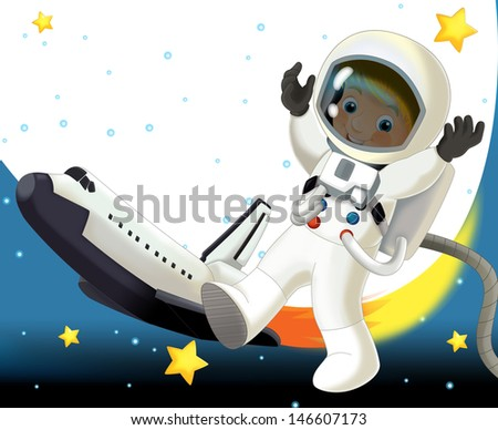 The aliens subject - ufo - star - kindergarten - menu - screen - space for text - happy and funny mood - illustration for the children, XXL large file - stock photo