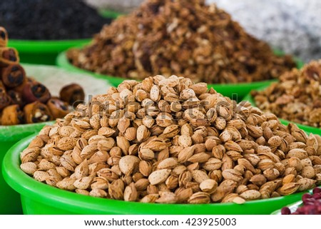 The almonds are at a Khujand market, Tajikistan, Central Asia - stock photo